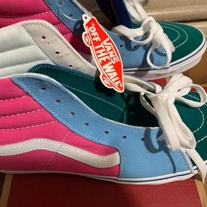 VANS Sk8-Hi Suede/Canvas Pink Blue Green High-Tops
